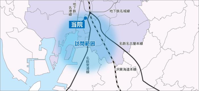 内田橋ファミリークリニックの訪問診療範囲